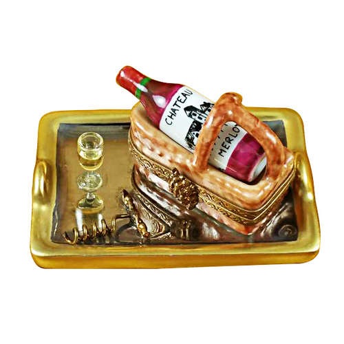 Rochard Tray with Wine Tasting Basket Limoges Box