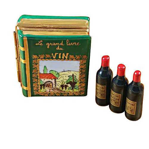 Rochard Wine Book with Three Bottles Limoges Box