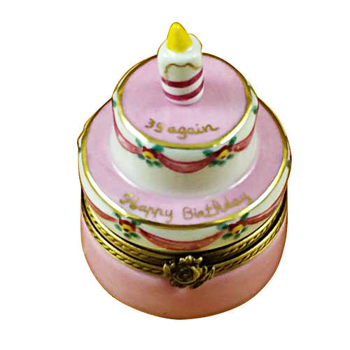 Rochard Pink Birthday Cake with Candle 39 Again Limoges Box