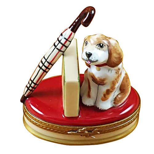 Rochard Spaniel with Briefcase and Umbrella Limoges Box