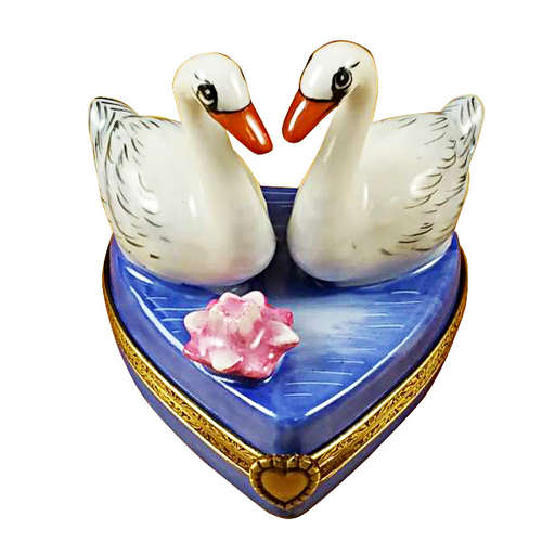 Rochard Two Swans on Heart Limoges Box