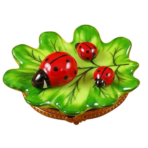 Rochard Green Leaf with Three Ladybugs Limoges Box