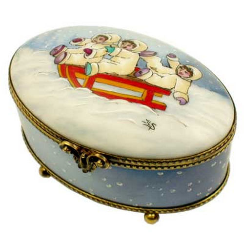 Rochard Studio Collection The Sleigh Holiday Oval Limoges Box