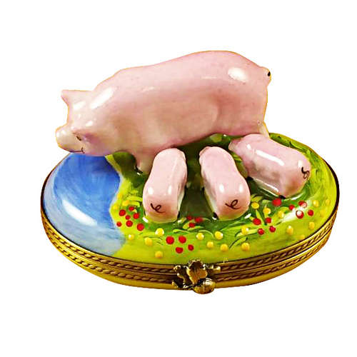 Rochard Pig with Three Babies Limoges Box