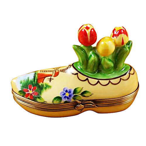 Rochard Dutch Clog with Tulips Limoges Box