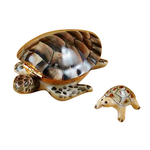 Rochard Turtle with Baby Limoges Box