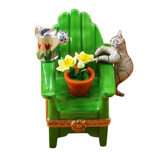 Rochard Adirondack Chair with Cat- Watering Can and Plant Limoges Box