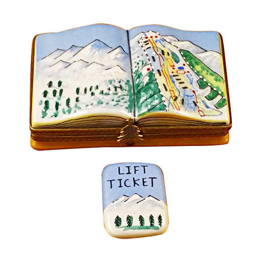Rochard Trail Map with Removable Lift Ticket Limoges Box