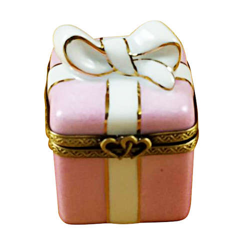 Rochard Pink Gift Wrapped Box with Gold Ribbon Limoges Box