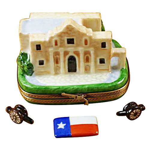 Rochard The Alamo with Cannons and Texas Flag Limoges Box