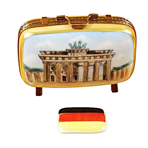 Rochard German Travel Suitcase with Flag Limoges Box