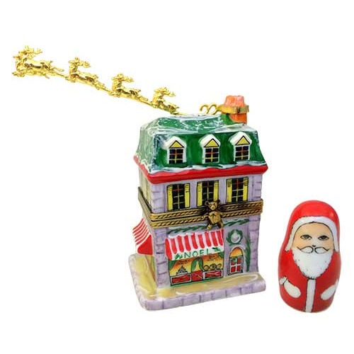 Rochard House with Santa and Brass Reindeer Limoges Box