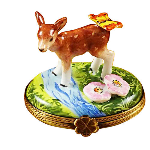 Rochard Deer with Butterfly and Flowers Limoges Box