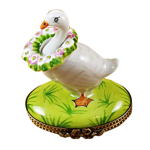 Rochard Goose with Spring Wreath Limoges Box