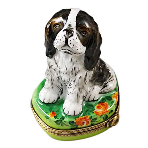 Rochard Tri Color King Charles Spaniel Limoges Box