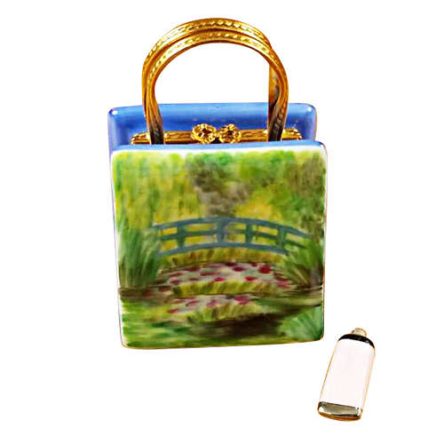 Rochard Monet Bag with Bridge and Water Lily Includes Removable Paint Tube Limoges Box