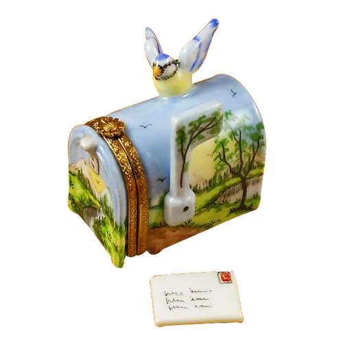 Rochard Mailbox with Landscape and Removable Letter Limoges Box