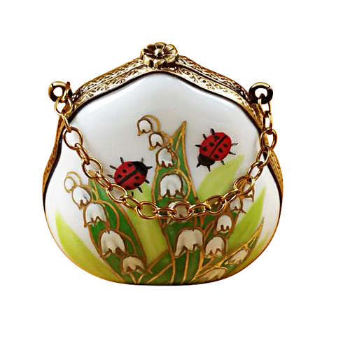 Rochard Lily of the Valley Purse with Ladybugs Limoges Box