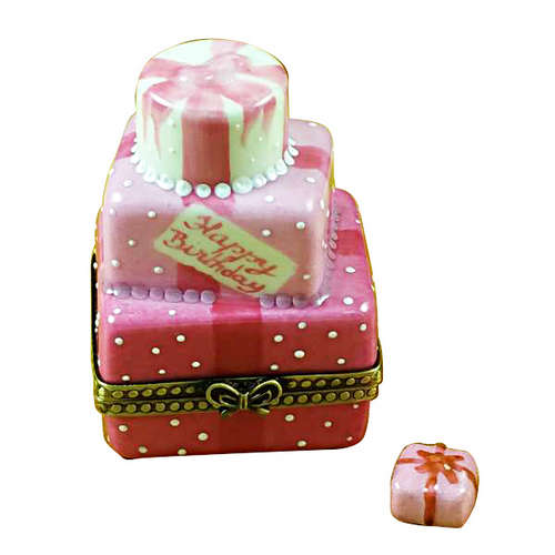Rochard Pink Birthday Cake with Present Limoges Box
