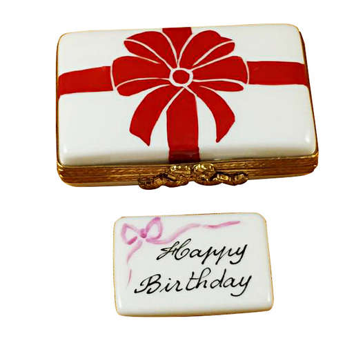 Rochard Gift Box with Red Bow - Happy Birthday Limoges Box