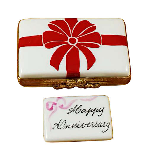 Rochard Gift Box with Red Bow - Happy Anniversary Limoges Box