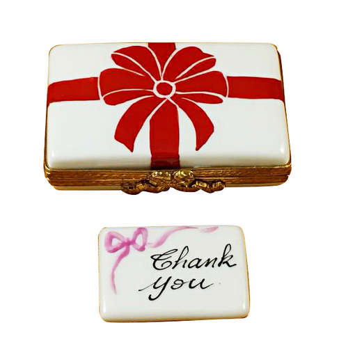 Rochard Gift Box with Red Bow - Thank You Limoges Box