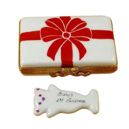 Rochard Gift Box with Red Bow - Baby's 1st Christmas - Pink Limoges Box