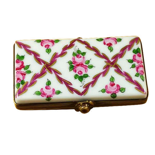 Rochard Flat Rectangle with Burgundy Stripes and Flowers Limoges Box