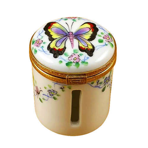 Rochard Butterfly Stamp Holder Limoges Box