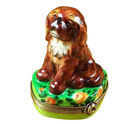 Rochard Ruby King Charles Spaniel Limoges Box