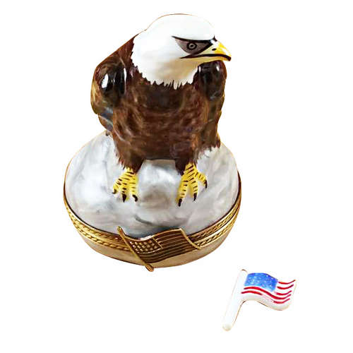 Rochard Bald Eagle with American Flag Limoges Box