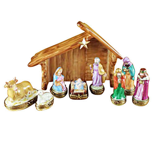 Rochard Ten Piece Mini Hinged Nativity with Porcelain Stable Limoges Box