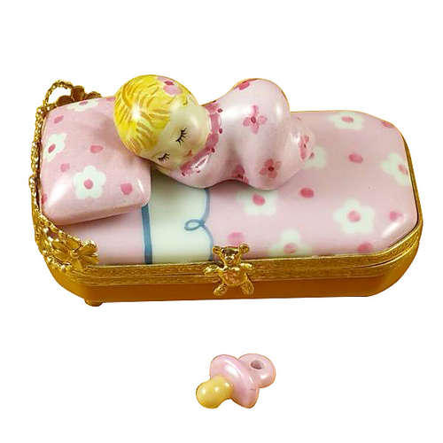 Rochard Baby in Pink Bed with Pacifier Limoges Box