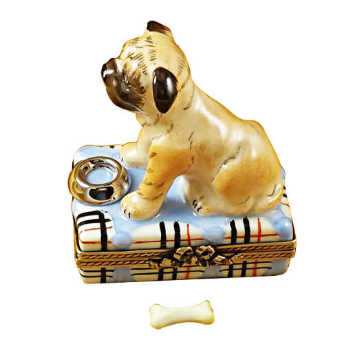 Rochard Pug with Spilt Water and Removable Bone Limoges Box