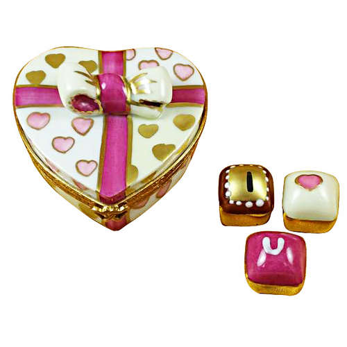 Rochard Pink Heart with Three Chocolates Limoges Box