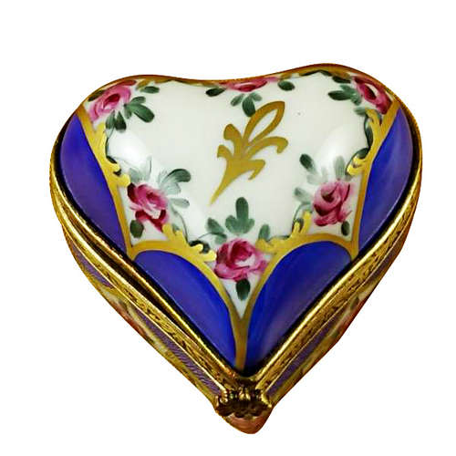Rochard Blue Heart with Flowers Limoges Box