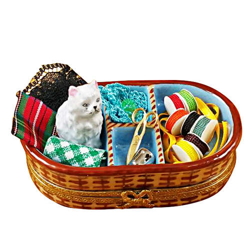 Rochard Sewing Basket with Cat Limoges Box