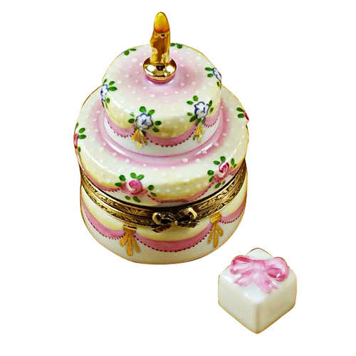 Rochard Two Layer Cake with Removable Porcelain Present Limoges Box