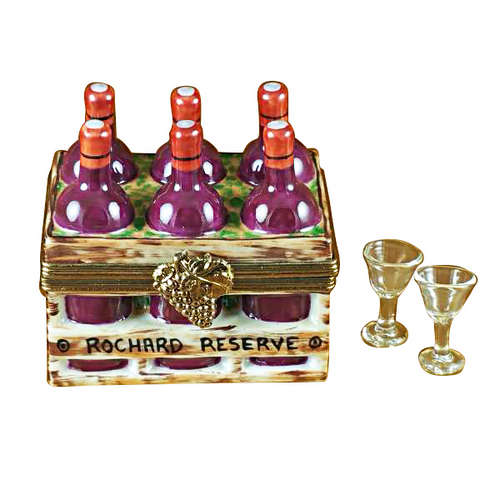 Rochard Wine Bottles in Crate with Two Glasses Limoges Box