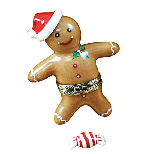 Rochard Santa Gingerbread Man with Peppermint Candy Limoges Box