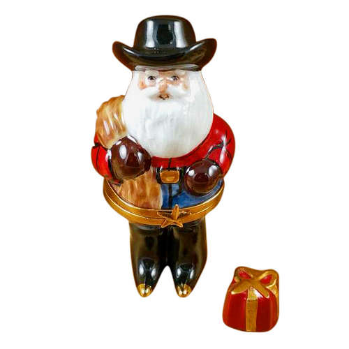 Rochard Santa with Cowboy Hat, Boots, Rope and Removable Present Limoges Box