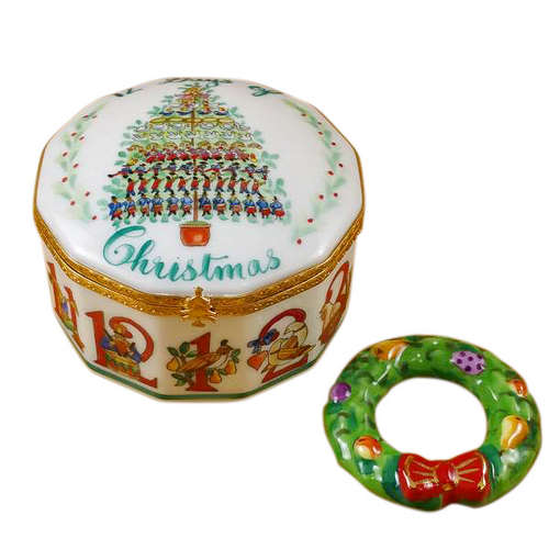 Rochard Twelve Days of Christmas with Removable Porcelain Wreath Limoges Box