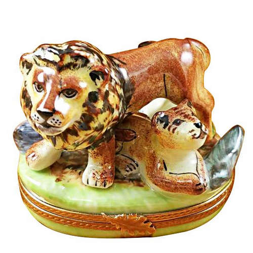 Rochard Lion with Baby Limoges Box