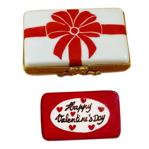 Rochard Gift Box with Red Bow - Happy Valentine's Day Limoges Box