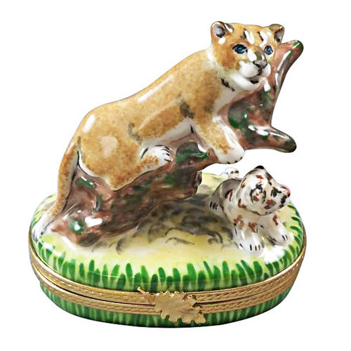 Rochard Cougar w/ Baby Limoges Box