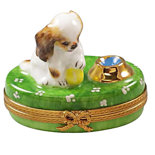 Rochard Spaniel Puppy with Ball and Bowl of Water Limoges Box