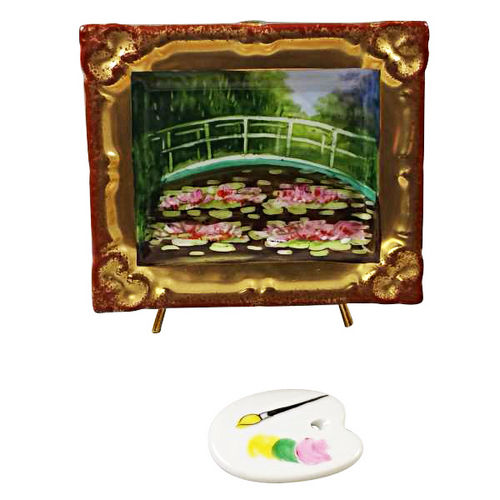 Rochard Monet Japanese Footbridge in Frame with Removable Palette Limoges Box