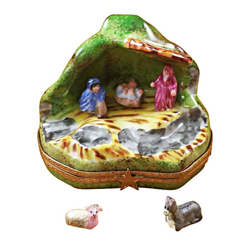 Rochard Nativity with 2 Removable Animals Limoges Box