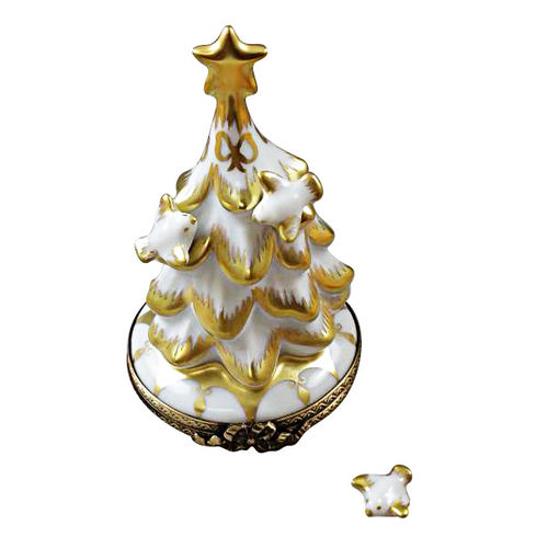 Rochard White and Gold Christmas Tree with Doves Limoges Box