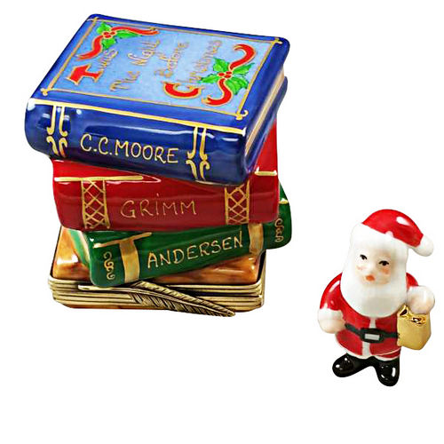 Rochard Twas Night Before Christmas Stack of Books with Removable Santa Limoges Box